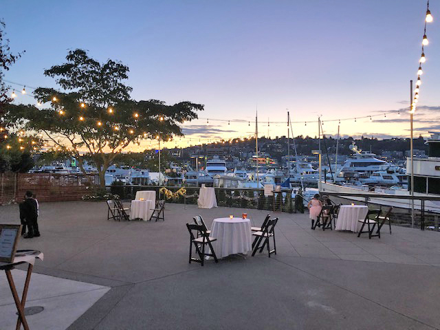 Twilight Dockside Patio and Tables with Lake View