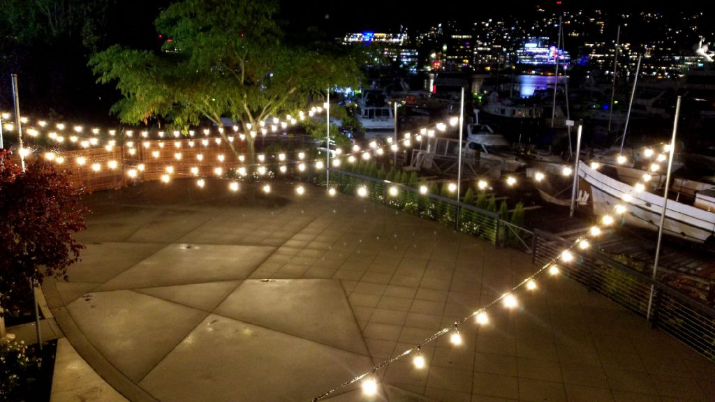 Evening Dockside Patio Lighting with Lake View